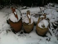 snowy garden pots
