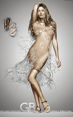 Gisele Bundchen in a dress made of water