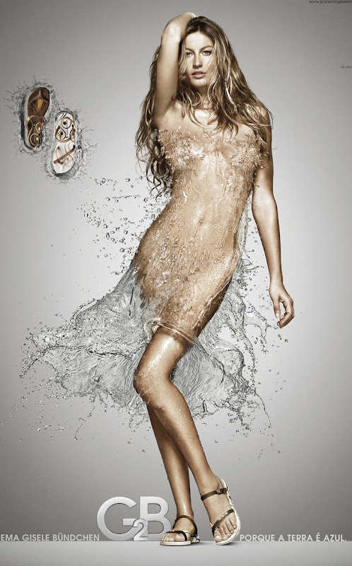 Gisele Bundchen in a dress made of water