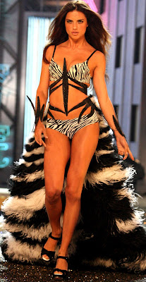 Adriana Lima on the runway in lingerie