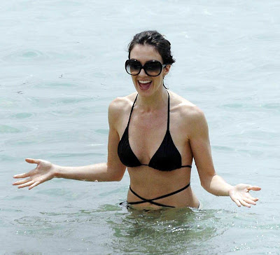 Actress Paz Vega in a black bikini