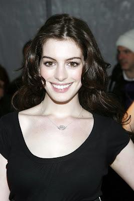 Anne Hathaway in black
