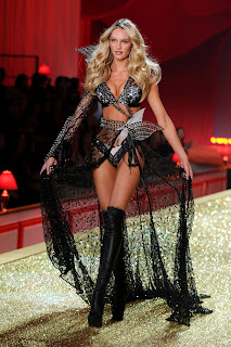 Candice Swanepoel modeling lingerie at the Victorias Secret Fashion Show