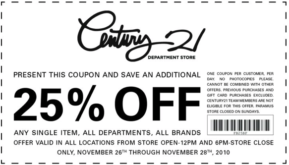 Century 21 discount coupon