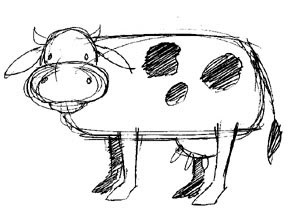 cartoon cow drawings