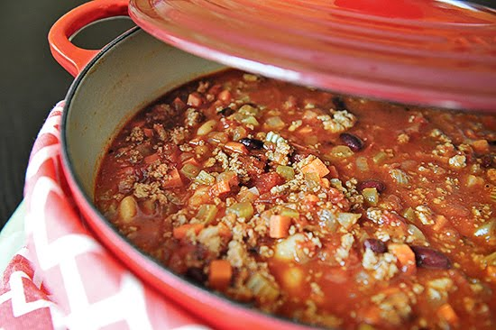 Turkey chili in my Le Creuset dutch oven