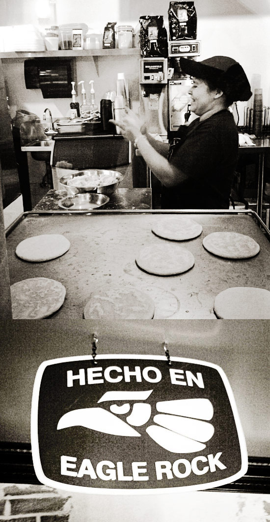 Handmade tortillas freshly made daily; the sign says it all