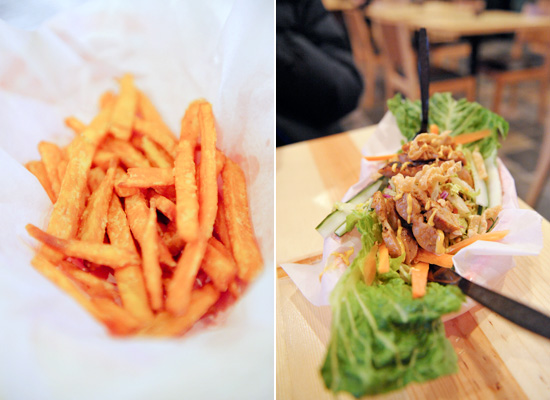 Double-fried beautiful sweet potato fries; another view of the Thai Sausage Salad - yum!