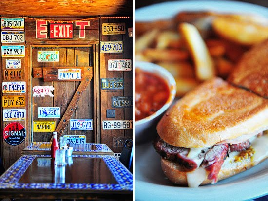 A kaleidoscope of license plates on the walls; crispy Cuban sandwich with homemade pinto beans and steak fries