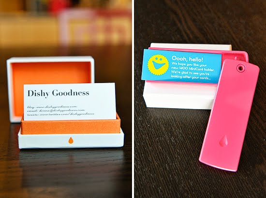 The text side of the card w/my contact info; the cute pink Moo MiniCard holder