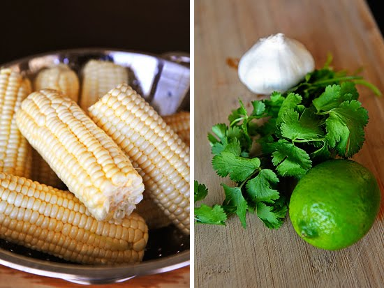 Fresh corn; cilantro, garlic and lime