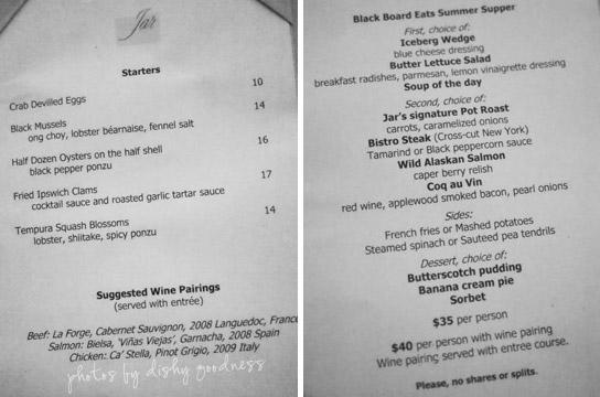 The Blackboard Eats prix fixe menu at Jar