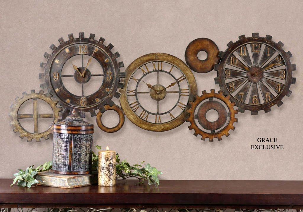 Large Decorative Clocks Part - 18: Decorative Wall Clock Collage