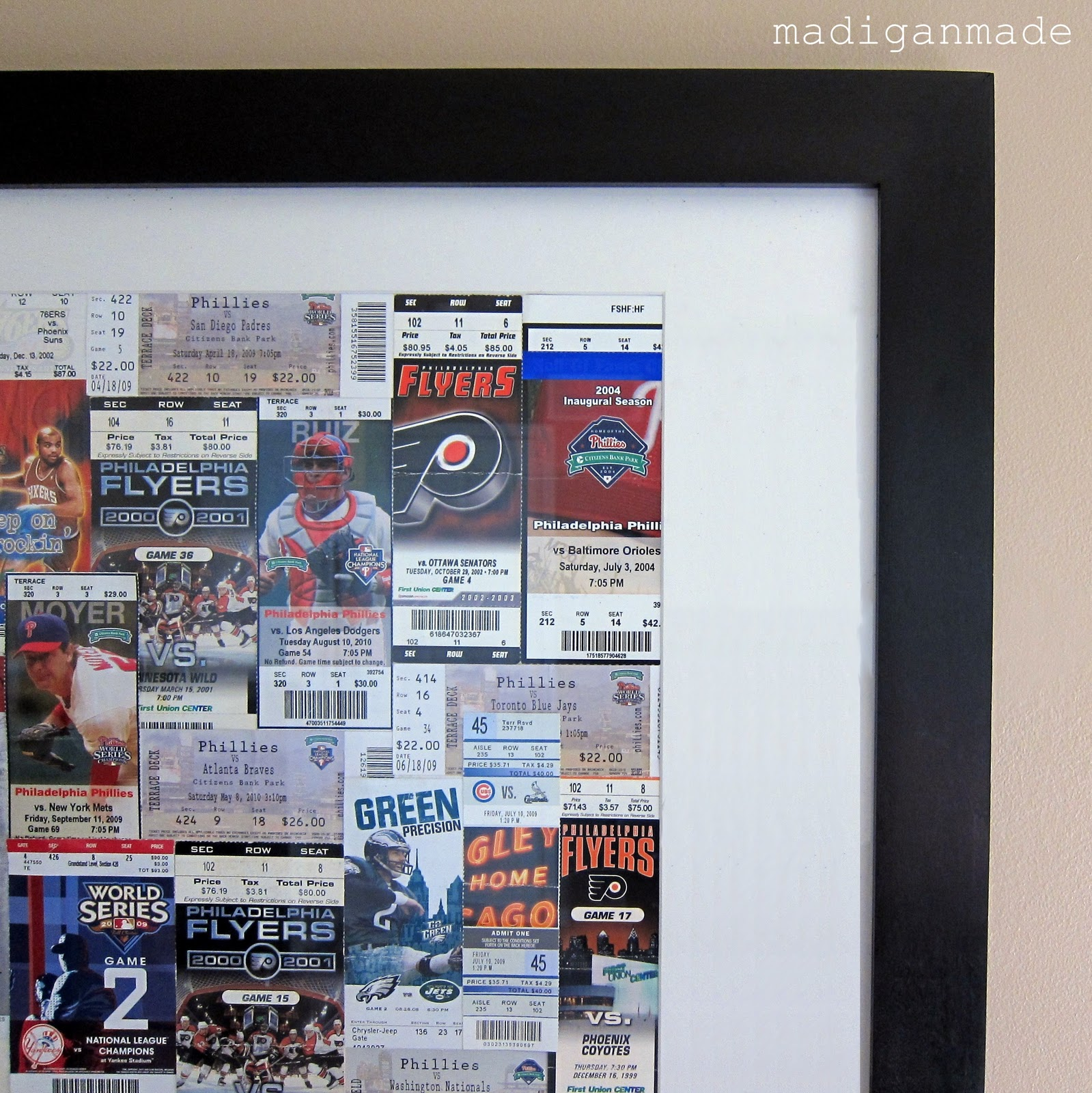 turn sporting event tickets into framed art