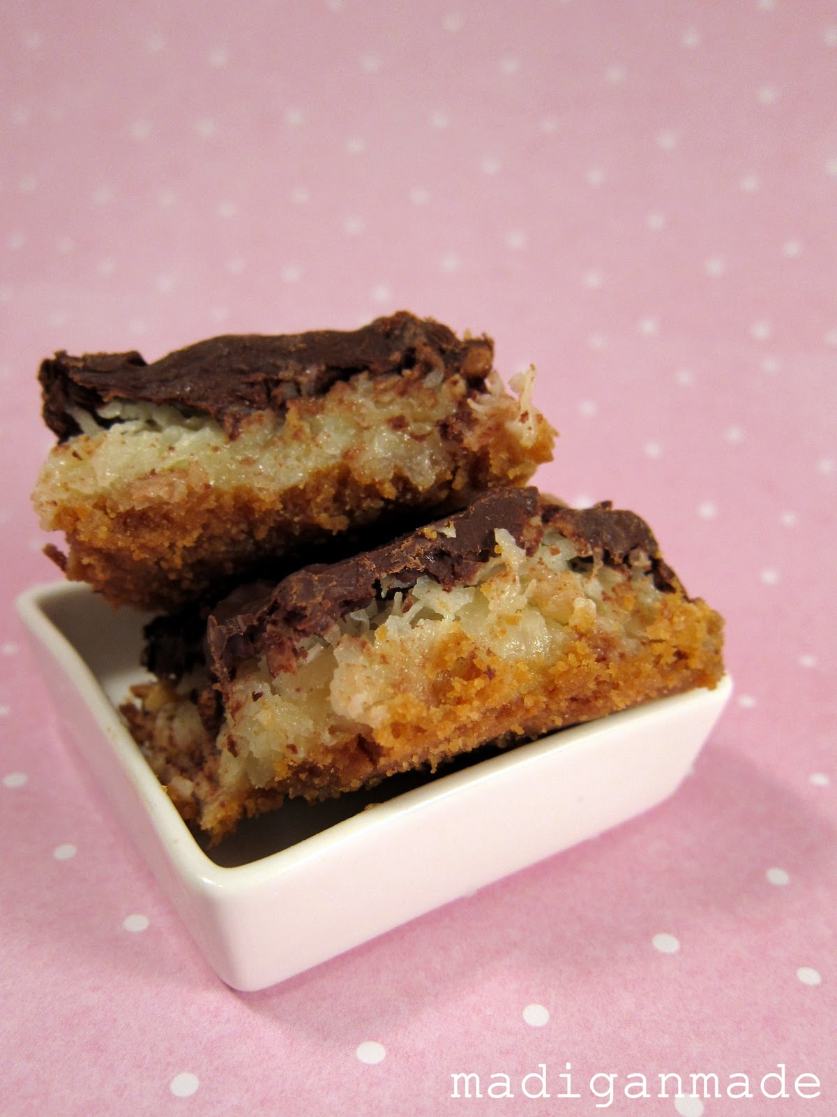 madigan made mounds inspired chocolate coconut bars
