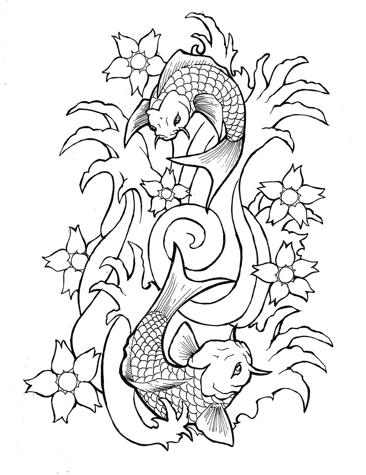 Koi fish drawing outline - photo#20