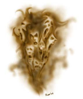 rostros de fantasmas en agonia
