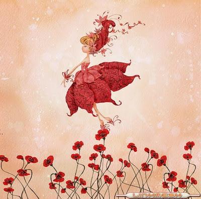 hada caminando sobre flores