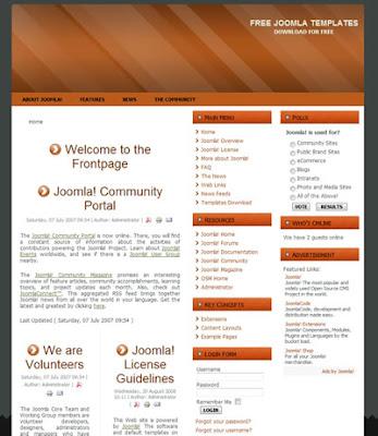 three column joomla template with orange header