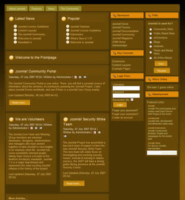 three column joomla template brown