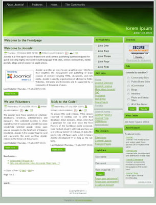 joomla template with green gradient background
