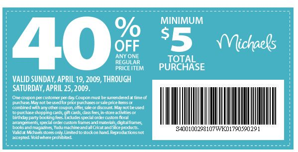 Michaels crafts 40 printable coupons