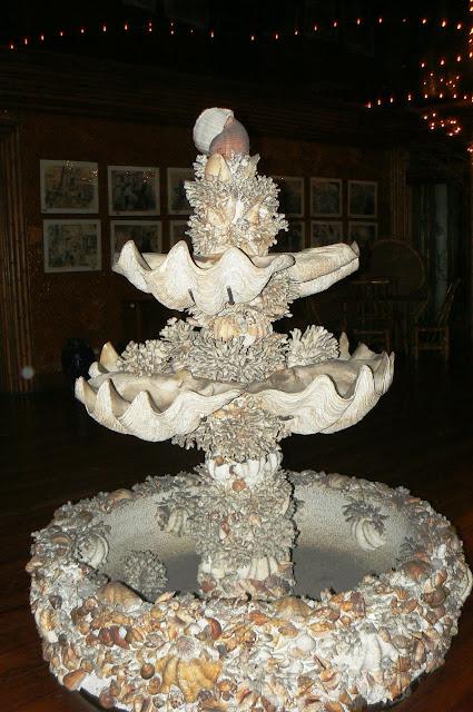 The centerpiece of the Firefly Room made up of clams and shells