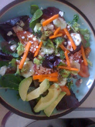 Organic Hearty Salad with avocado, feta, and raspberry dressing