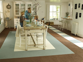 Brown carpet tiles form the main floor with light cream and duck egg blue carpet tiles used to create this really special farmhouse kitchen ... & Square Vision: Carpet tiles - pretty pics from FLOR by heuga carpet ...