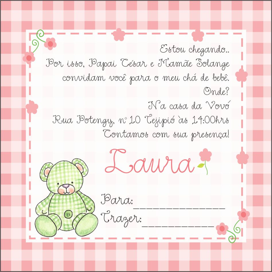 Lindo convite do chá de bebêLaura