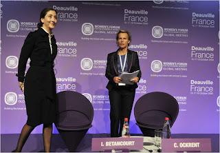 Ingrid Betancourt, left, the freed hostage, and Christine Ockrent, of