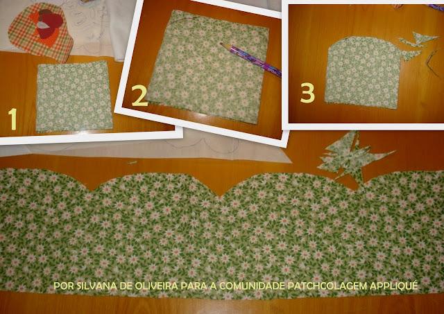 Dobrar a faixa de tecido em quantas partes desejar. Aqui foi
