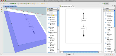 The 3D version of the UML Tool's activity diagram editor.