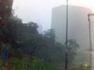Snapshot of Makati Shangri-La as Milenyo hit the city- with me willingly driving through the typhoon.