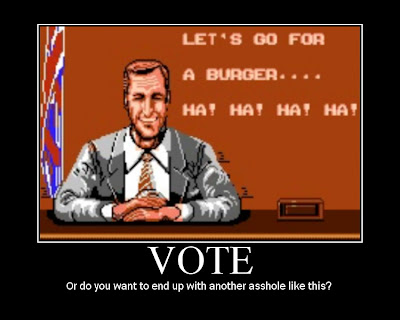 voting motivational poster, bad dudes, nes, resigned gamer