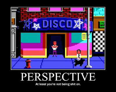 leisure suit larry motivational poster, resigned gamer