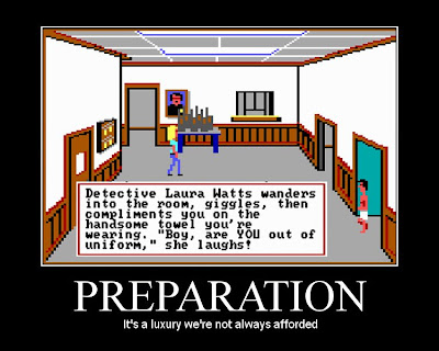 police quest motivational poster, towel out of uniform, sierra