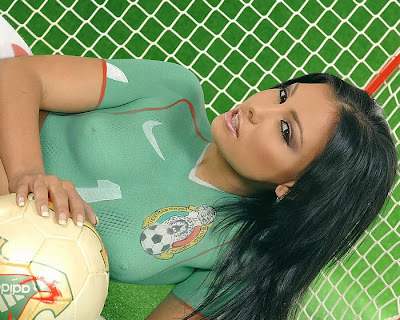 Football Model Body Painting
