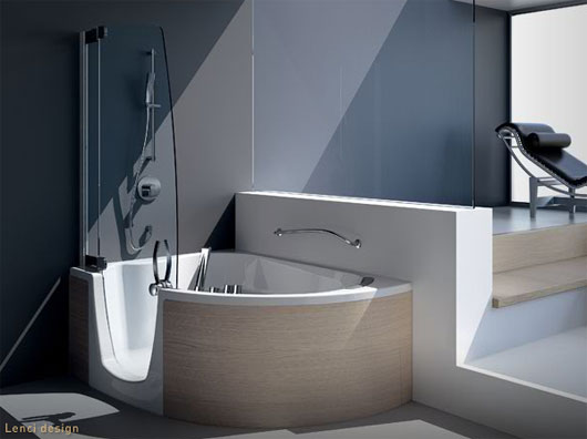 Modern shower furniture bathtub with shower combo from teuco for Bathtub in bathroom
