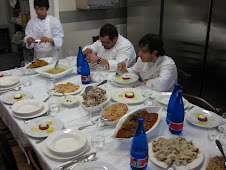 The Chefs enjoying the fruits of their teaching