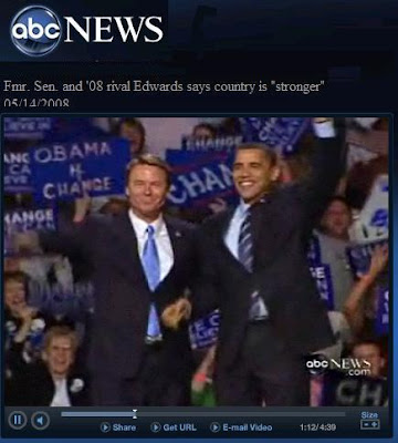 Former Senator John Edwards throws his support behind Democratic presidential candidate Senator Barack Obama at Michigan campaign rally - Photo courtesy ABC News videos
