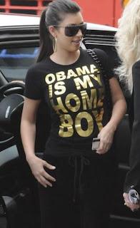 Kim Kardashian wears a Barack Obama shirt at LAX