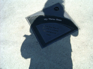 Me in the shadow of a Studio City walk of fame plaque for My Three Sons