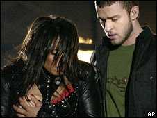 Justin Timberlake and Janet Jackson with wardrobe malfunction at the Super Bowl - photo courtesy of AP and BBC News