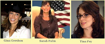 Governor Sarah Palin looks like Tina Fey and Gina Gershon
