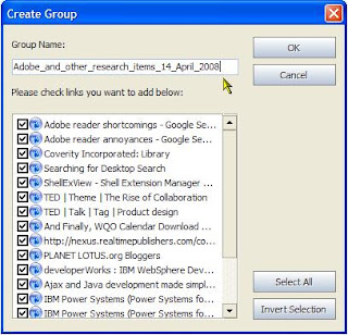 Storing a group of web page URL links in Avant Browser. (Click for a larger image)