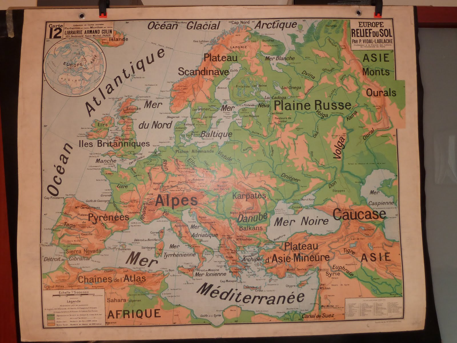 1948 World Map.Vintage French Posters Botany Animals Anatomy Old World Maps From