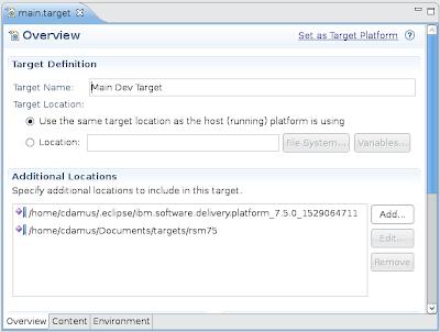 PDE Target Definition Editor