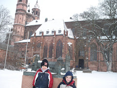 Ashton and Ethan standing in front of St. Peter's Cathedral