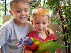 Ashton and Ethan with Parrot